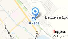 Железнодорожный вокзал г. Анапы на карте