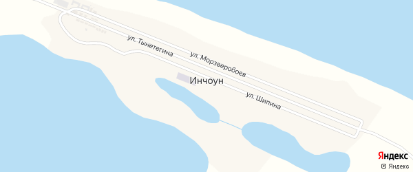 Центральная улица на карте села Инчоуна с номерами домов