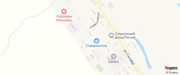 Улица Дежнева на карте села Лаврентии с номерами домов