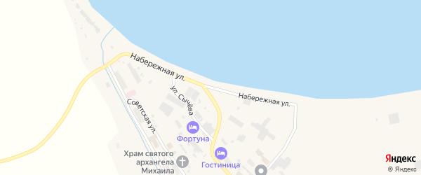 Набережная улица на карте села Лаврентии с номерами домов