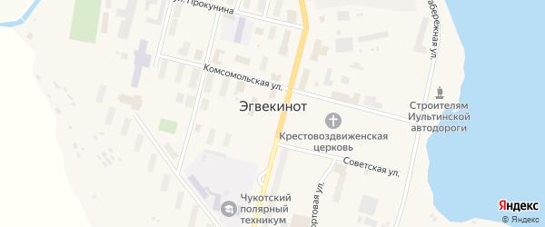 Улица 60 лет Октября на карте поселка Эгвекинот с номерами домов