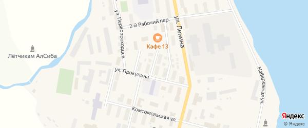 Рабочий 1-й переулок на карте поселка Эгвекинот с номерами домов
