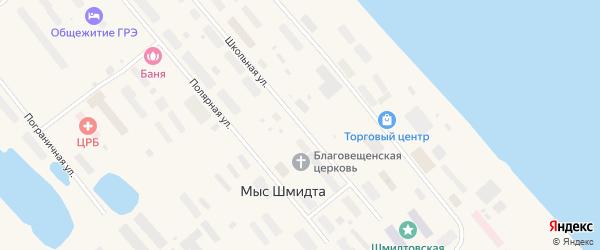 Школьная улица на карте поселка Мыса Шмидта с номерами домов