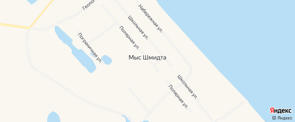 Карта поселка Мыса Шмидта в Чукотском автономном округе с улицами и номерами домов