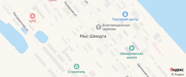 Переулок Коммунальников на карте поселка Мыса Шмидта с номерами домов