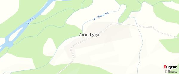 Карта местечка Алага Шулууна в Бурятии с улицами и номерами домов