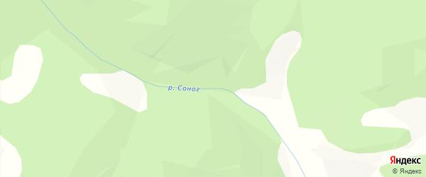 Карта местечка Сонога в Бурятии с улицами и номерами домов