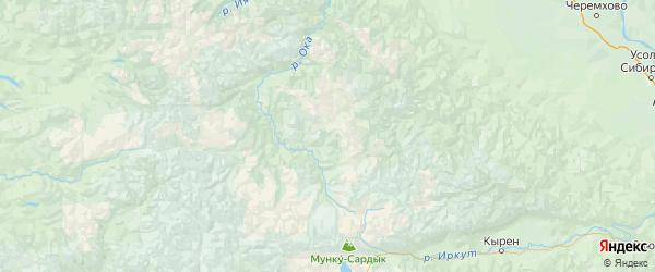 Карта Окинского района республики Бурятия с городами и населенными пунктами