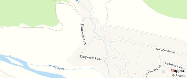 Подгорная улица на карте поселка Монды с номерами домов