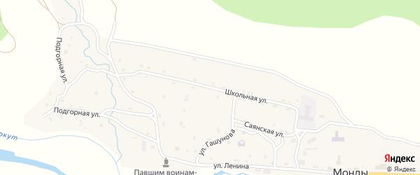 Школьная улица на карте поселка Монды с номерами домов