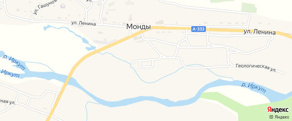 Улица Мира на карте поселка Монды с номерами домов