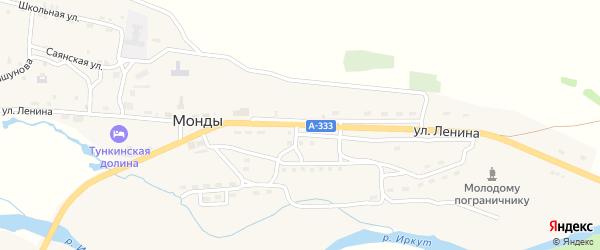 Улица Ленина на карте поселка Монды с номерами домов