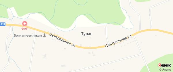 Заречная улица на карте села Турана с номерами домов