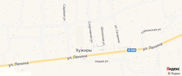 Спортивная улица на карте улуса Хужиры с номерами домов