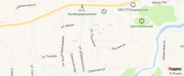 Улица Пушкина на карте села Кырена с номерами домов