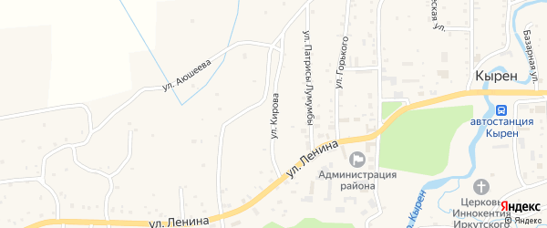 Улица Кирова на карте села Кырена с номерами домов