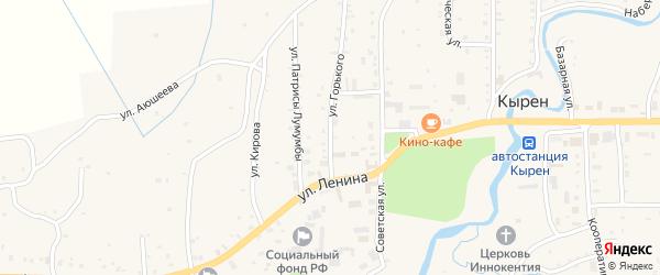 Улица Горького на карте села Кырена с номерами домов