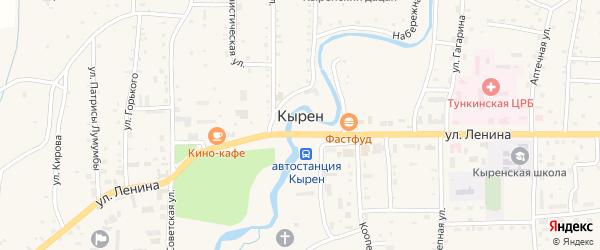 Улица Дорожников на карте села Кырена с номерами домов