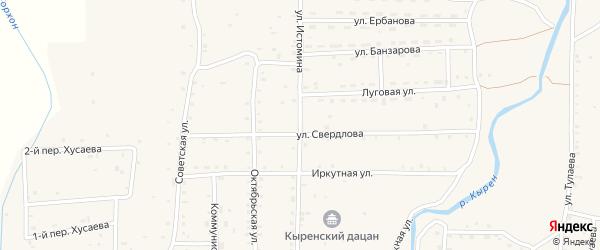 Улица Калинина на карте села Кырена с номерами домов