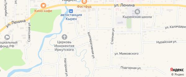 Кооперативный переулок на карте села Кырена с номерами домов