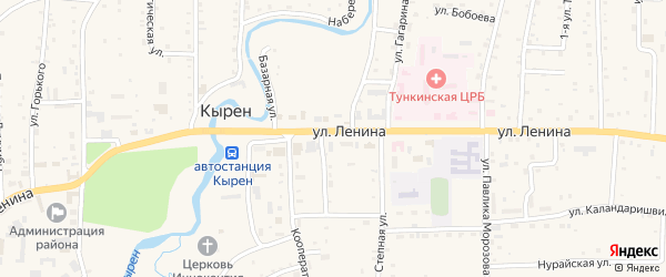 Восточный переулок на карте села Кырена с номерами домов