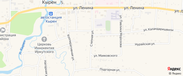 Степная улица на карте села Кырена с номерами домов