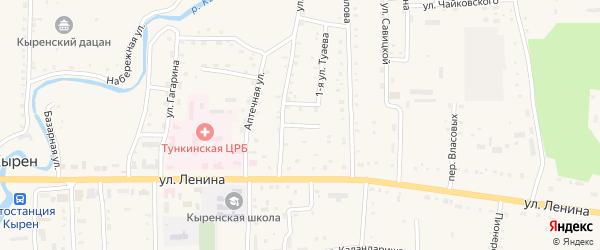 Переулок Тулаева на карте села Кырена с номерами домов