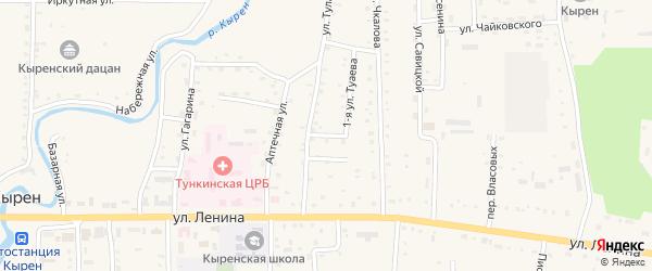 Тулаева 2-й переулок на карте села Кырена с номерами домов