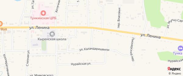 Парковый переулок на карте села Кырена с номерами домов