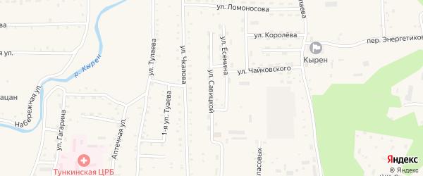 Улица Савицкой на карте села Кырена с номерами домов