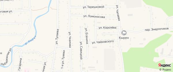 Улица Есенина на карте села Кырена с номерами домов