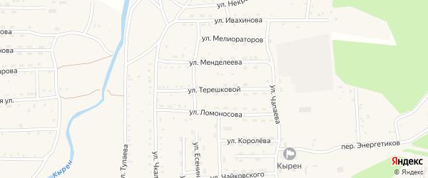 Улица Терешковой на карте села Кырена с номерами домов