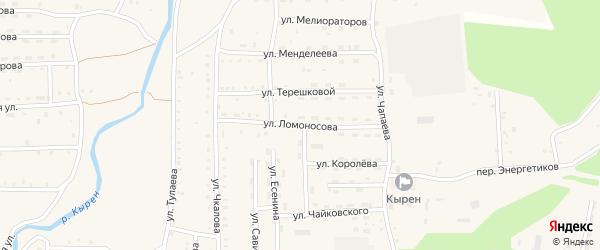 Улица Ломоносова на карте села Кырена с номерами домов