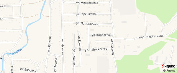 Переулок Ломоносова на карте села Кырена с номерами домов