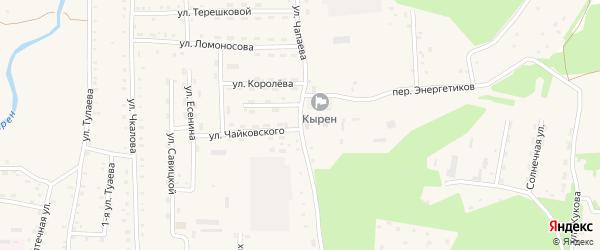 Улица Чапаева на карте села Кырена с номерами домов