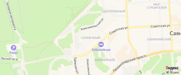 Карта Солнечного микрорайона города Саянска в Иркутской области с улицами и номерами домов