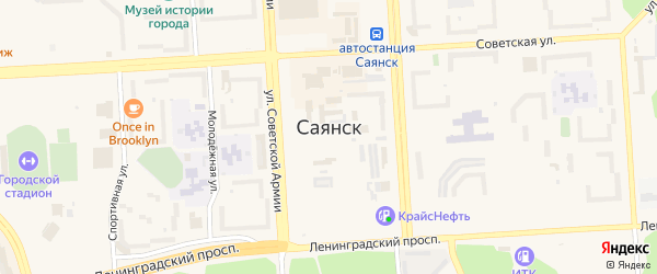 9-й микрорайон на карте Саянска с номерами домов