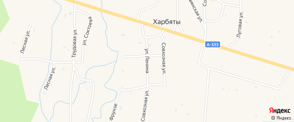 Улица Ленина на карте села Харбяты с номерами домов