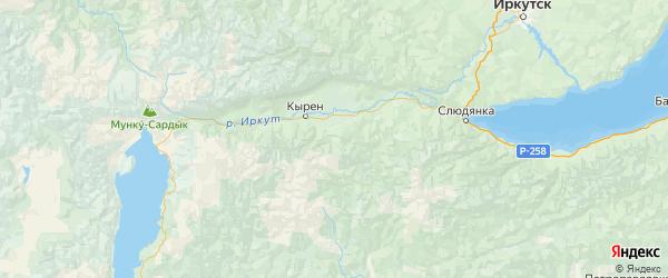 Карта Тункинского района республики Бурятия с городами и населенными пунктами