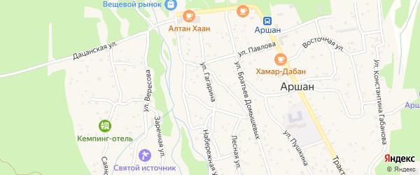 Улица Гагарина на карте поселка Аршана с номерами домов