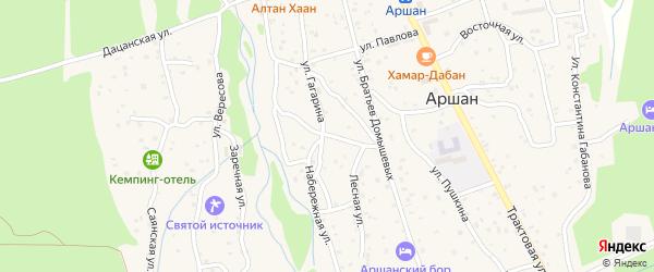 Улица Титова на карте поселка Аршана с номерами домов