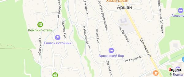 Лесной переулок на карте поселка Аршана с номерами домов