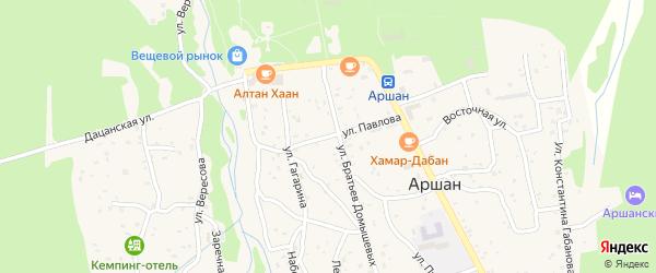 Улица Павлова на карте поселка Аршана с номерами домов
