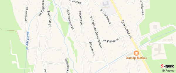 Лесная улица на карте поселка Аршана с номерами домов