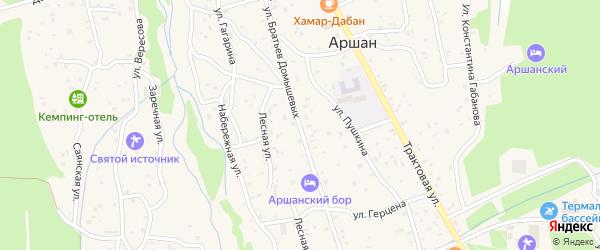 Улица Братьев Домышевых на карте поселка Аршана с номерами домов