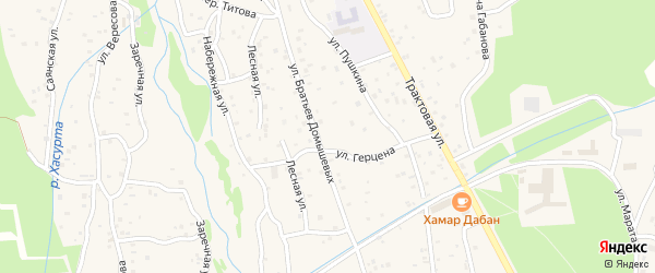 Парковая улица на карте поселка Аршана с номерами домов