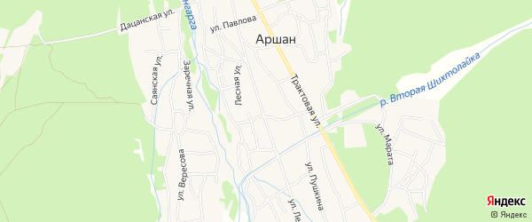 Карта поселка Аршана в Бурятии с улицами и номерами домов