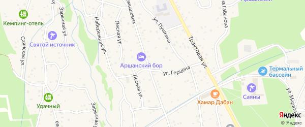 Территория Подсобное х-во на карте поселка Аршана с номерами домов