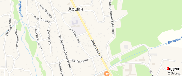 Трактовая улица на карте поселка Аршана с номерами домов