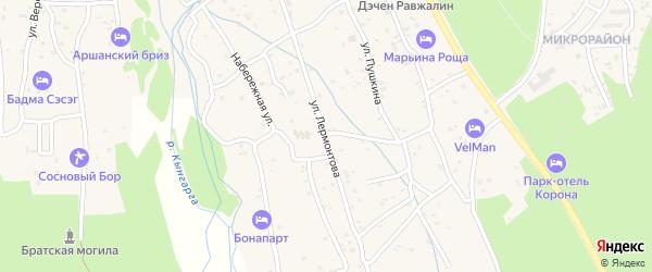 Улица Лермонтова на карте поселка Аршана с номерами домов